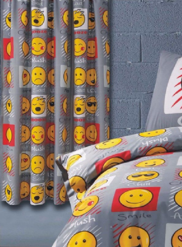 Emoji Smiley Emoticon Themed Design Pair Of Curtains 66x72'' Grey